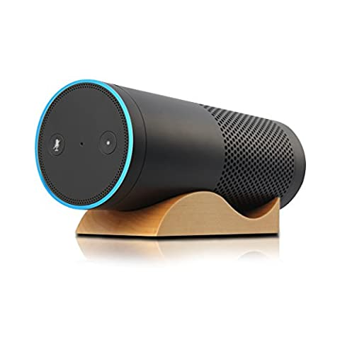 Speaker Stand,Stand Holder,Speaker Stand for Amazon Echo,Holder for Echo,LANMU Desktop Wooden Base Stand Protective Cover for Echo Alexa Accesories Home Decoration(wavy)