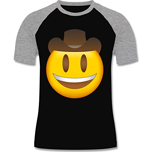 Shirtracer Comic Shirts - Emoji Cowboy-Hut - Herren Baseball Shirt Schwarz/Grau Meliert