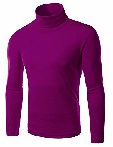 EMMA Herren Turtle Polo Neck Rollkragen Langarm Baumwolle Bottom T-Shirt Jumper Tops Schlank Plain Winter Elastisch Tops Oberteiler Pullover Violett 1 (High Neck)
