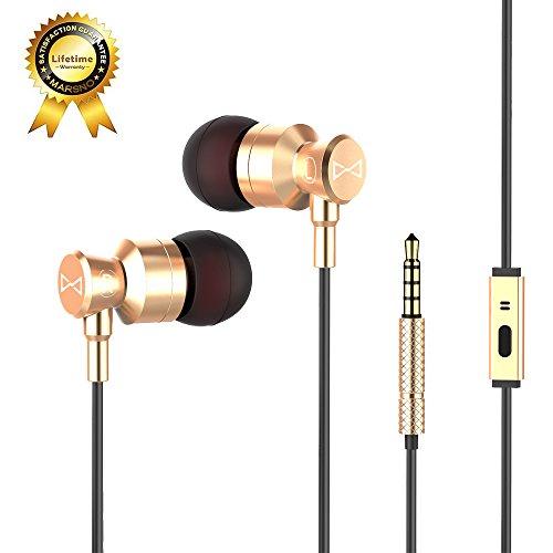 Marsno m1, auricolari con casse metalliche, isolamento acustico e microfono incorporato, funzionalità stereo bass sound e crystal clear sound(oro)