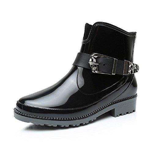 primavera moda Ms. stivali da pioggia Martin stivali Black