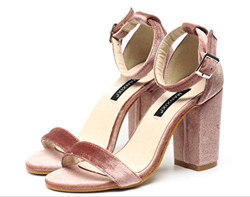 YCMDM Femmes Simple Suède Boucle Word Gold Velvet Chaussures à talons hauts Chaussures Chaussures Simple Pink