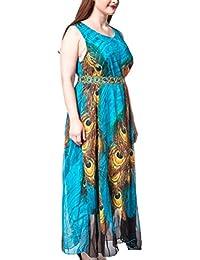OULII Vestido sin mangas del pavo real de la gasa del vestido largo de la playa