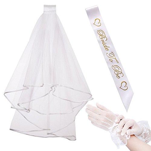 iLoveCos Hen Party Dekoration Zubehö Bride to Be Braut zu Sein Set Satin Schärpe Weiß Hochzeit...