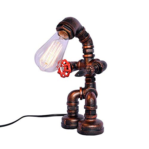 LDDEND Lámpara de mesa de viento industrial retro Lámpara de tungsteno Edison Personalidad Creativa Tubería de agua Robot de modelado Lámpara de escritorio E 27 Lámpara de pie Iluminación de sala Lámp