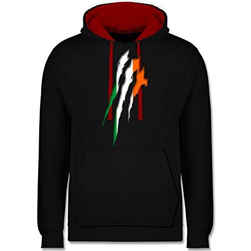 Shirtracer Länder - Irland Krallenspuren - XXL - Schwarz/Rot - JH003 - Kontrast Hoodie
