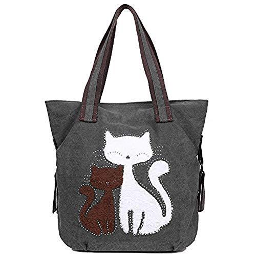 EGOGO Damen Schultertasche Canvas Henkeltasche Tasche Niedliche Katzen Shopper Tasche Handtasche E523-4 (Grau)