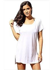 El Seaside Resort tee falda blusa vestido sol playa confortable ventilaciones laterales,M,blanco