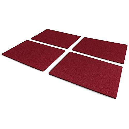 FILU Platzsets aus Filz (Farbe wählbar) 4 Stück Set (dunkelrot / bordeaux, eckig, 30 x 41 cm)...
