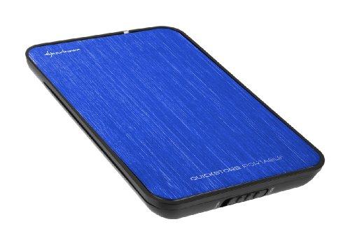 Sharkoon Quickstore Portable USB 2.0 Gehäuse für 2,5 Zoll (6,4cm) SATA Festplatte inkl. Backup Funktion blau