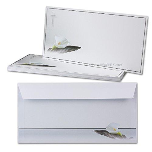 25x Trauer-Set // Einzelkarte & Umschlag DIN Lang // Serie: Calla - Trauerblume // Matt