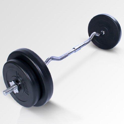 Physionics Curl-hantelset  30 kg Langhantelstange inklusive Gewichtsscheiben und Sternverschlüsse, HSTA22