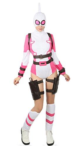 Halloween Kostüm Gwen Cosplay Zentai Bodysuit Superhero Outfit für Erwachsene Damen (Uns Zentai Kostüme)