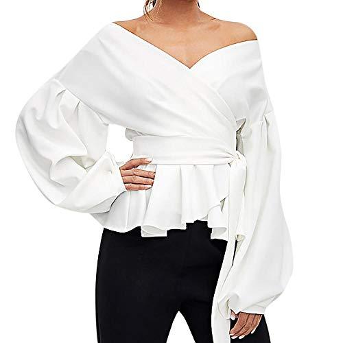 VECDY Elegante Blusa Mujer Camisa V Profundo Color