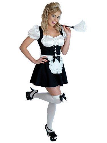 Damen Sexy frecher Fräulein FRANZÖSISCHES DIENSTMÄDCHEN Dienstmädchen Haushälterin Dirndel & Kittel Rocky Horror Kostüm Kleid Outfit UK 6-22 Übergröße - Schwarz, 8-10 (Rocky Horror Kostüme Uk)