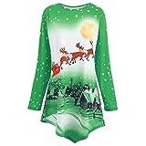 OverDose Damen Frauen Weihnachten Stitching Long Lace Sleeve Printed O-Ausschnitt Weihnachtsmann Cosplay Slim Party Clubbing T-Shirt Tops Bluse Tuniken