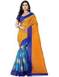 Florence Sky Blue Bhagalpuri Printed Saree With Blouse (FL-PT-Durga_A-1)