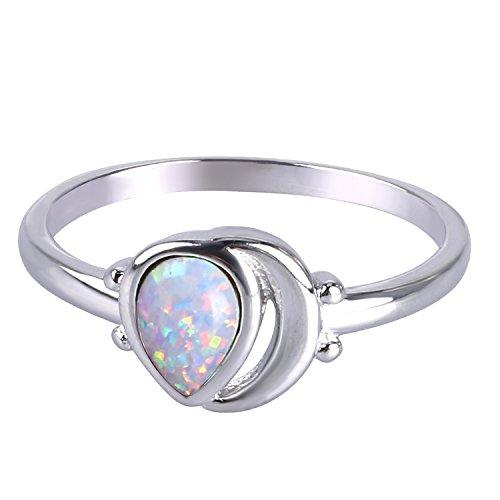 KELITCH Ringe Frauen Mädchen Synthetische Tropfen Weiß Opal Stapelringe Aushöhlung Versilbert Ring für Damen - Größe 10 (62mm)