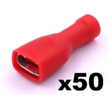 10x Kabelstecker Kabelschuhe Stecker Flachsteckhülsen voll isoliert ROT