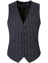 YCHENG Hombre V Cuello Sin Mangas Casual Chalecos de Traje Blazer 2 colores