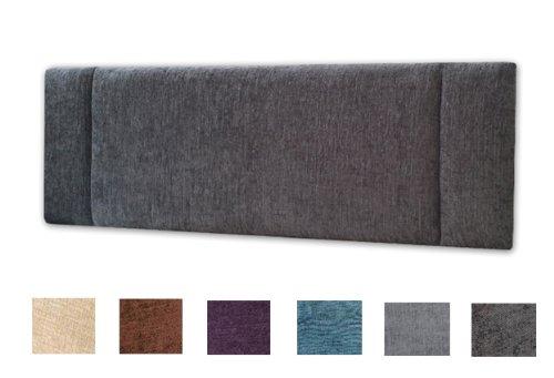 Turin Fabric Portobello Headboard 4ft6 Double Size - Choice of 6 Colours (CHARCOAL)