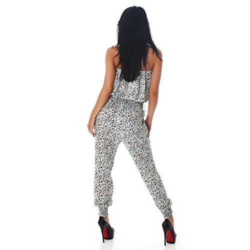 Jela London Damen Jumpsuit Overall Hosenanzug Einteiler Gemustert Einheitsgröße (36 - 40) Weiß 851