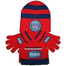 psg-bonnet gants écharpe paris saint germain-rouge et bleu-garçon f6c5f39f331
