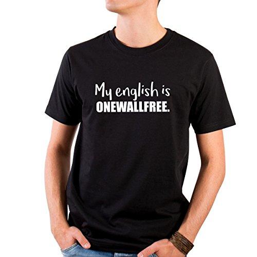 JUNIWORDS Herren T-Shirt mit rundem Ausschnitt -My english is onewallfree. - große Auswahl an Motiven - Größe: XL - Farbe: Schwarz (Englisch-schwarz-t-shirt)