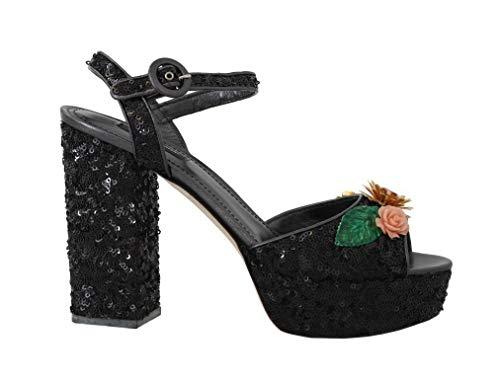 Dolce & Gabbana - Damen Sandalen - Black Sequin Leather Crystal Sandals - EU 39