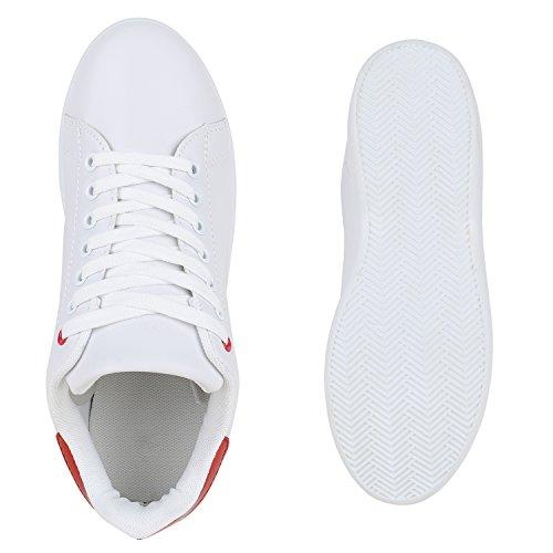 Damen Sneakers Sportschuhe Schnürer Lack Lederoptik Schuhe Weiss Rot