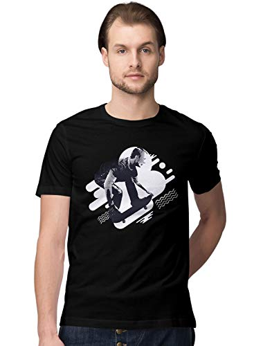 BLAK TEE Herren Guy Jumping on a Skateboard Abstract T-Shirt S -