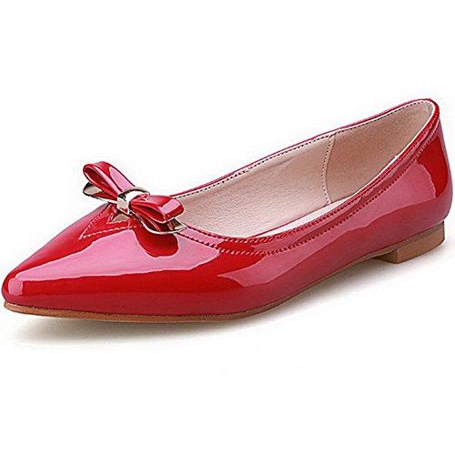 AllhqFashion Damen Ziehen auf Ohne Absatz PU Spitz Zehe Flache Schuhe, Weinrot, 40