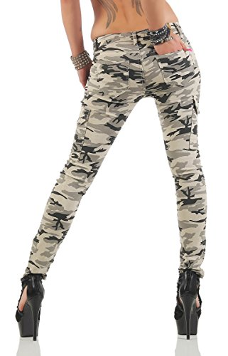 Fashion4Young - Jeans - Femme turquoise turquoise M = 40 3754-camouflage