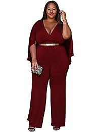 Dooxi Donna Scollo a V Maxi Formale Partito di Jumpsuit Eleganti Puro  Colore Tuta con Lungo 0926a1181a0