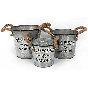 Rond-Lot de 3 pots de fleurs de Style seau en métal galvanisé pour la maison ou le jardin