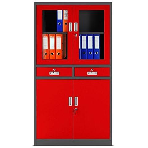 Aktenschrank C017 Flügeltür aus Glas Schubladen Medizinschrank Büroschrank Stahlschrank 185 cm (anthrazit-rot)
