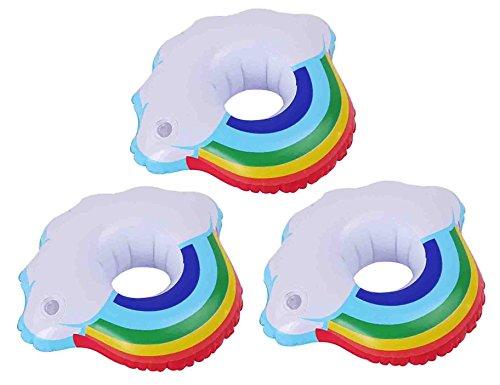 DATO 3 Stück Aufblasbare Getränkehalter Pool Wasser Untersetzer Coasters Flaschenhalter Strand Badespielzeug - Regenbogen