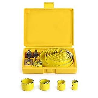 Coronas Perforadoras, HTBAKOI Broca Corona Juego Taladro Ø 19 ~ 127mm Sierra Perforadora con Usillos Mandriles Placa de Instalación para Escayola Madera Yeso Plástico PVC Hecho de Acero Endurecido A3