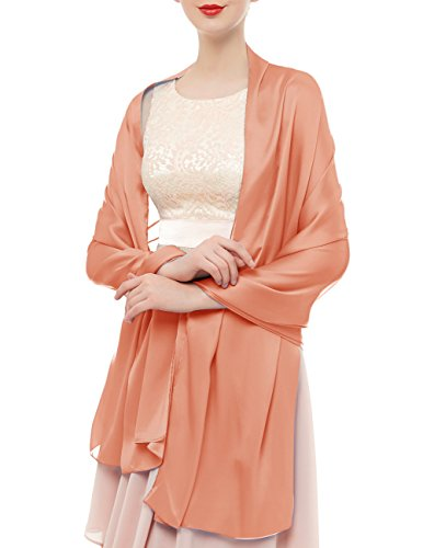Bridesmay Damen Elegant Seidenschal 180*90cm Seide Halstuch Stola Schal für Kleider in 20 Farben Shell Pink