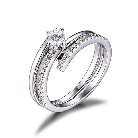 JewelryPalace 0.43ct Magnifique Bague de Fiançailles Femme Mariage Alliance Anniversaire 2 Anneaux en Argent Sterling 925 en Zircone Cubique de Synthèse CZ Taille 57