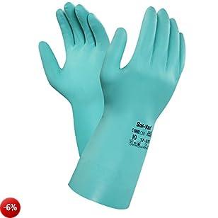 Ansell Solvex 37-676 Guanto in Nitrile, Protezione Contro le Sostanze Chimiche e Liquide, Verde, Taglia 9 (Sacchetto di 12 Paia)