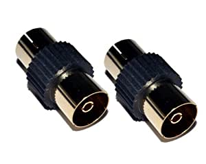 Cable Mountain Gold Plated Female to Female TV Aerial Coaxial Coupler - Black (Pack of 2)