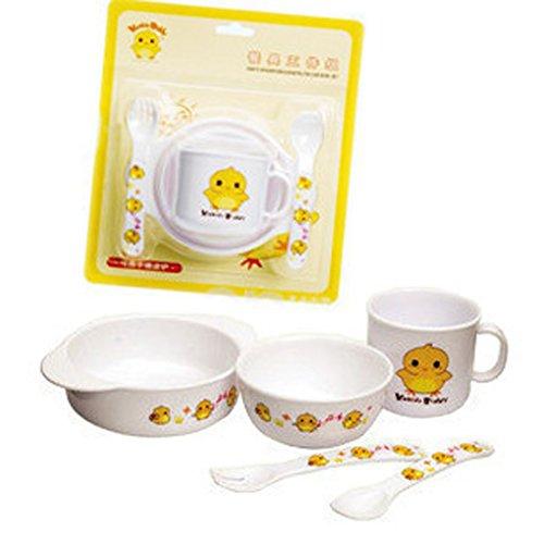 Preisvergleich Produktbild LUFA 5 Stück Kinder Essgeschirr-Set Eco-Friendly Bambus BPA Free Chicken Design