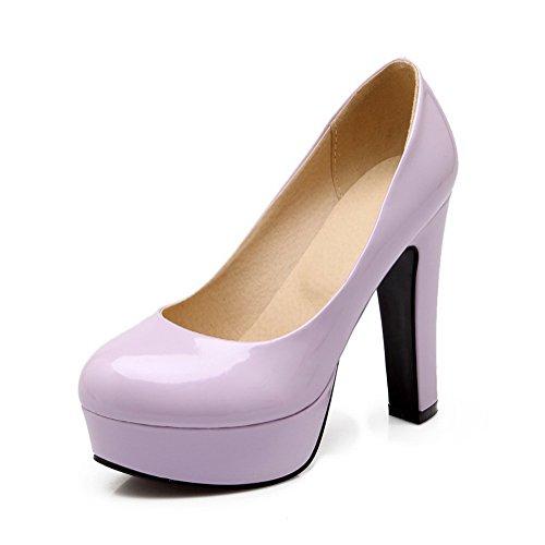 balamasa Femme Baskets Dessus High-Heels brevet en cuir pumps-shoes Violet - violet
