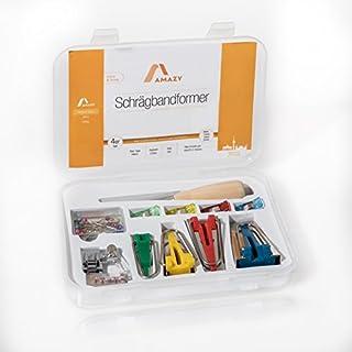 Amazy Schrägbandformer Set (4 Größen + Ahle, Nähfuß, Stoffklammern und Stecknadeln) inkl. Anleitung – Praktische Hilfe bei der eigenen Herstellung von Schrägband (Set   6/12/18/25 mm)