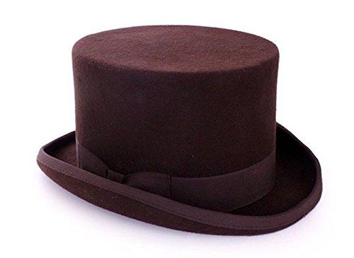 Steam Punk Hombre Cilindro con y sin Plumas Sombrero Gentleman Novio Disfraz marrón 61