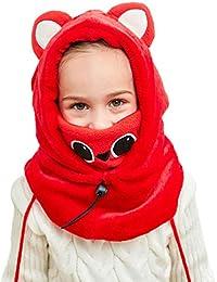 DAWNTUNG Cagoule Enfant Polaire Epais Chaud Hiver Bonnet Echarpe Cache Cou  Oreilles Cagoule de Ski Animal Déguisement Chapeau… 2a5134734d1