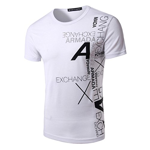 Men's Short Sleeve Cotton Casual Tee Shirts white