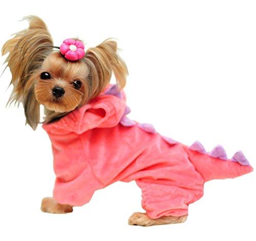 Kostüm Dinosaurier Welpen - DELEY Haustier Hund Fleece Cartoon Dinosaurier Cosplay Kostüm Welpe Katze Overall Mantel Kleidung Kleider Rot L