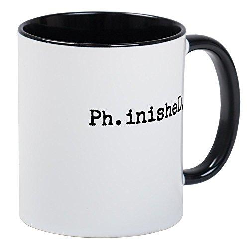 Kaffeetasse mit Schreibmaschinenschrift zum Abschluss der Doktorarbeit (PhD), von CafePress, White/Black Inside, S